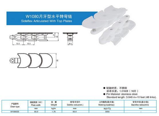 W1080月牙型水平轉彎鏈
